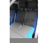 VW Transporter T5 van seat covers anthracite sports fabric with blue bolsters